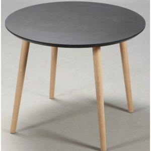 Lewis - rundt spisebord, sort linoleum med egeben