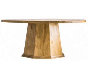 Rustikt rundt spisebord i elmetræ Ø180 cm - Natur